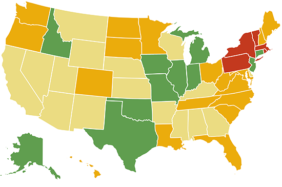 State homeschool laws - colored map
