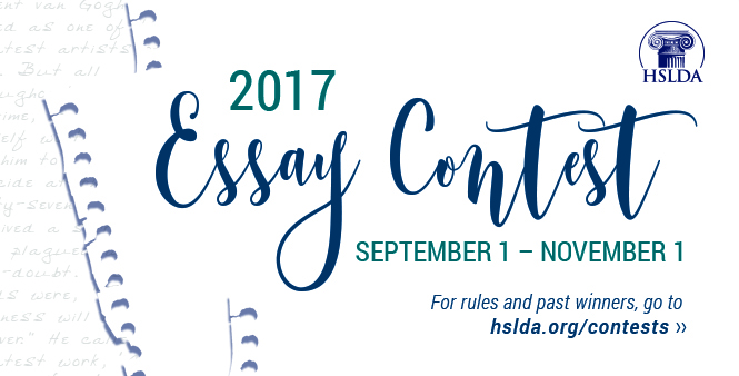 Enter HSLDA's 2017 Essay Contest for homeschooled students! Ends  November 1. Get details >