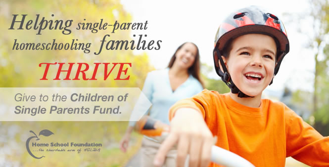 Help children of single parents get the resources they need to homeschool! Donate now >>
