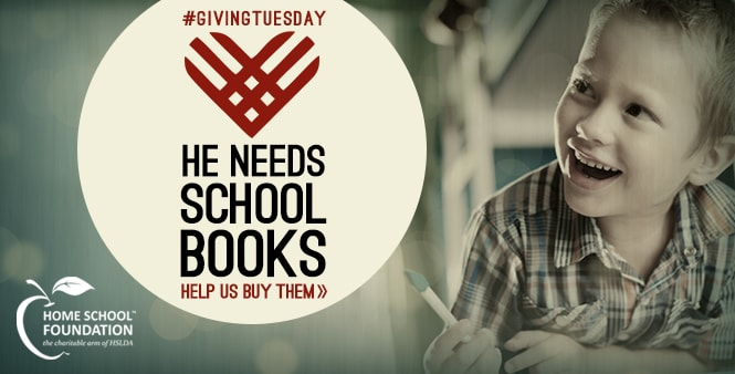 He needs schoolbooks. Help us buy them through the Home School Foundation's Kids Curriculum Fund. >> #GivingTuesday