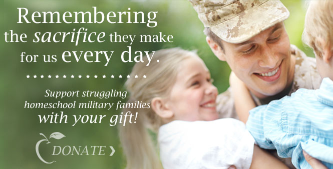 Support struggling homeschool military families with your gift! Donate here >>
