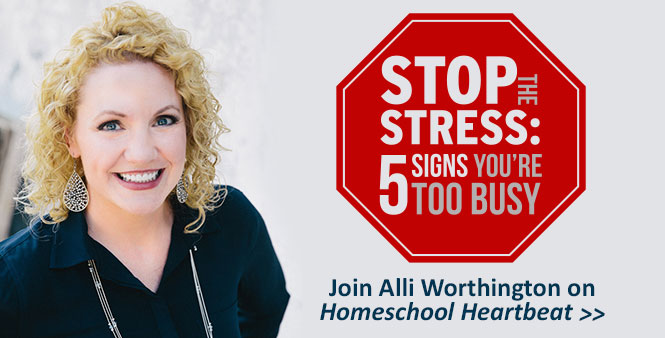 "Is ""too busy"" your new norm? Alli Worthington explains how to break the cycle. Listen now on Homeschool Heartbeat >>"