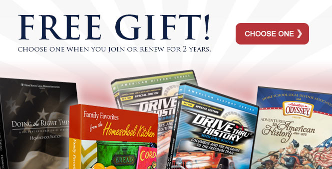 Choose a free gift when you join HSLDA or renew for 2 years! Learn more. >>