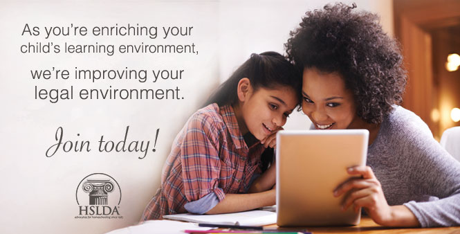 Improve your homeschool legal environment by joining HSLDA! >>