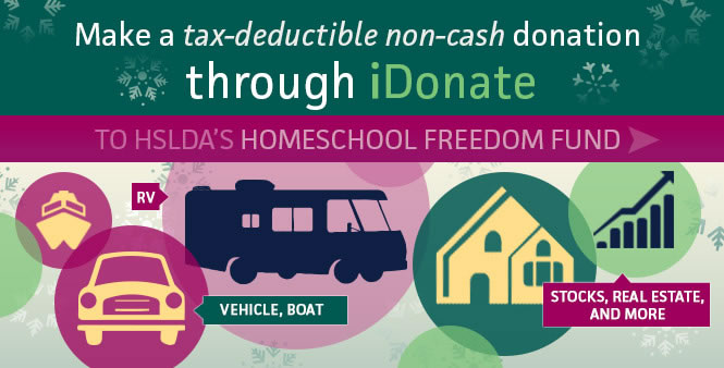 Make a tax-deductible, non-cash donation to HSLDA's Freedom Fund through iDonate. Give now >>