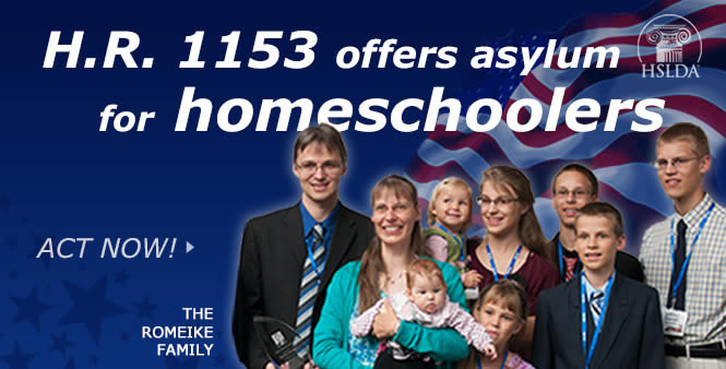 U.S. H.R. 1153 would offer asylum for up to 500 persecuted homeschoolers each year. Read more & act now >>
