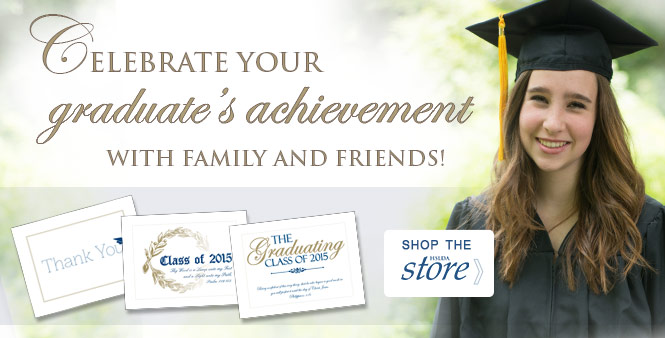 Celebrate your homeschool graduate's achievement with family and friends. Shop for graduation announcements, thank yous, diplomas, caps and gowns, and more in the HSLDA Store >>