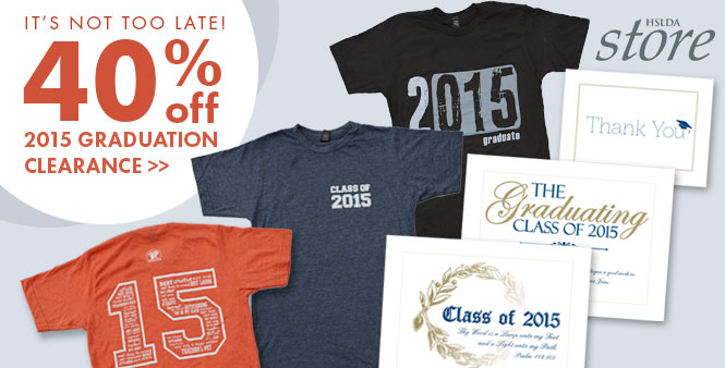 Get 40% off selected 2015 graduation items for homeschoolers during the HSLDA Store's clearance. Shop now >>